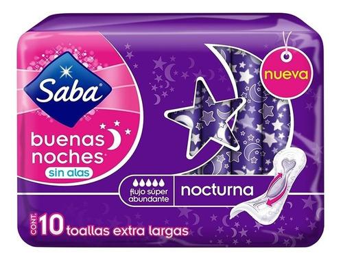 toallas femeninas saba buenas noches sin alas 10 pzas