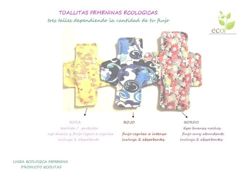 toallas higiénicas ecológicas kit x 7und talla1ecolitas