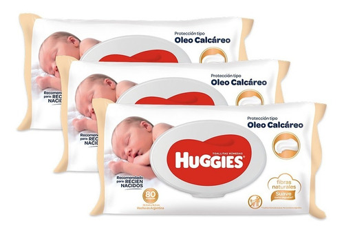 toallas humedas huggies c/ oleo calcareo deluxe x80 pack x 3