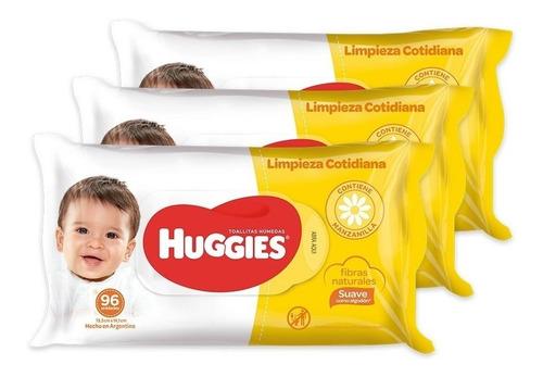 toallas húmedas huggies clasico y cotidiano limpieza cotidiana pack x 3