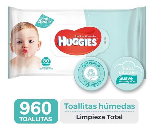 toallas humedas huggies limpieza total one&done x80 caja x12