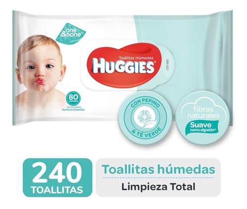 toallas humedas huggies limpieza total one&done x80 pack x 3