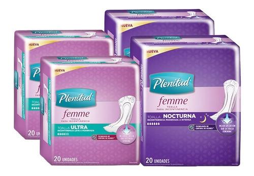 toallas incontinencia plenitud femme 2 ultra + 2 nocturna