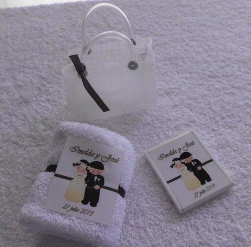 toallita facial y espejo personalizado bolsita del mandado