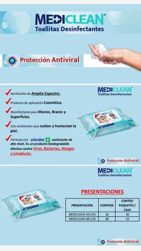 toallitas desinfectantes y antivirales de 24 pqt de 48pzs