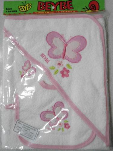 toallon con capucha bordado+babita+bata bordada bebe