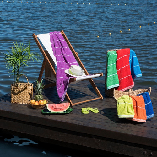 toallones grandes playeros arco iris nautical puro algodón