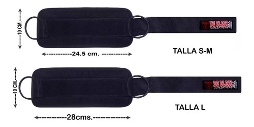 tobillera polea gym- nylon acolchado- anillas metal negras