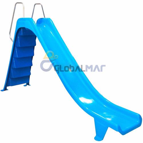 toboágua escorregador reto para piscinas grande azul fibra