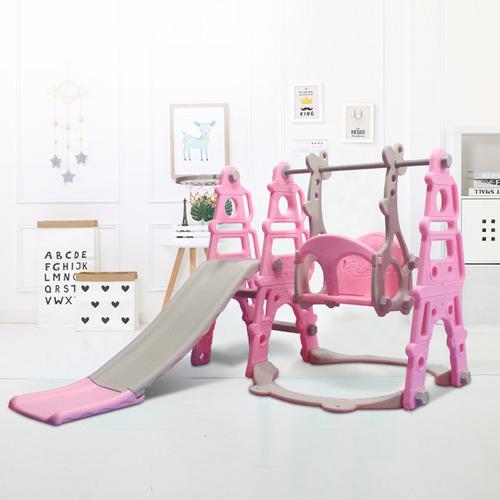 tobogan infantil grande con hamaca + aro de basket rosa