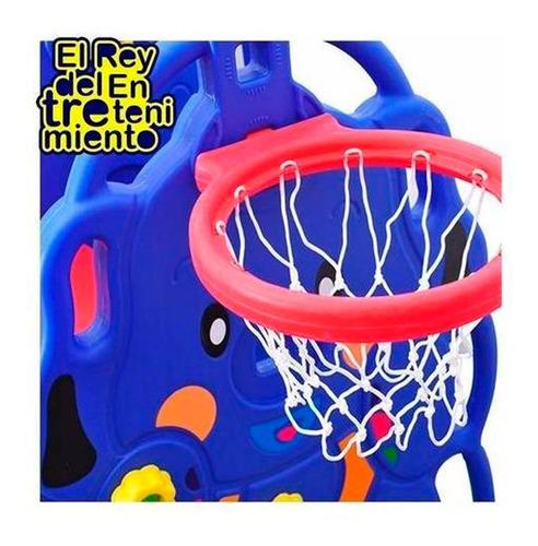 tobogán infantil + hamaca + aro basket + pelota + 4 pisos