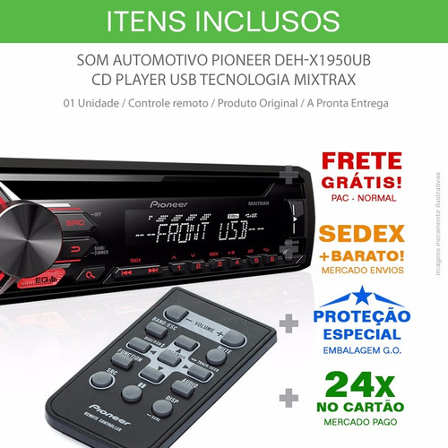 toca cd player pioneer deh-x1950ub usb / mp3 lançamento 2017