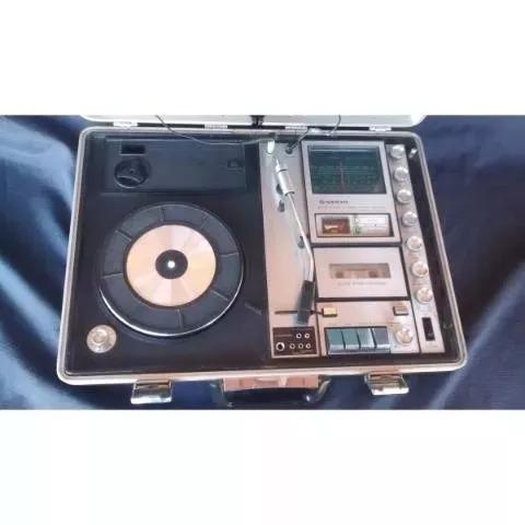 toca disco vitrola 3 em 1 sanyo portátil funciona frete grát
