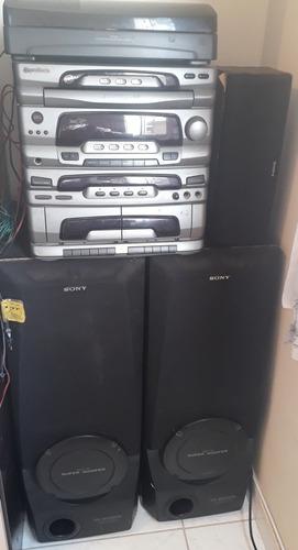 toca discos e cds com 7 caixas, sony.