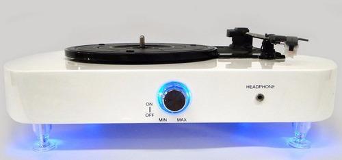 toca discos luminous com led azul e caixas de som + agulha
