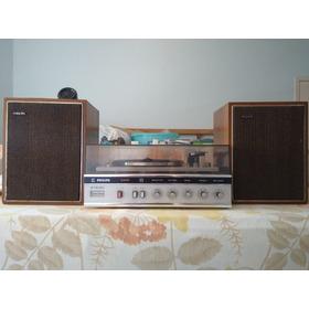 Toca Discos Philips Stereo 460 Raro Com Caixas (funcionando)