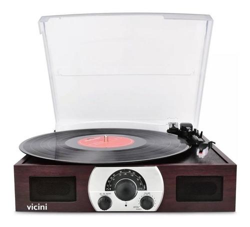 toca-discos vicini retrô vitrola rádio bluetooth usb