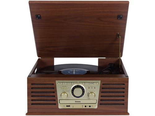 toca discos vitrola raveo sonata bt lp cd mp3 usb bluetooth