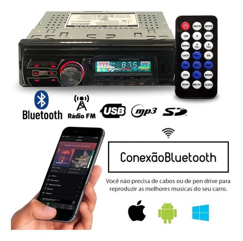 toca radio bluetooth fm carro mp3 pen drive automotivo usb sd aux