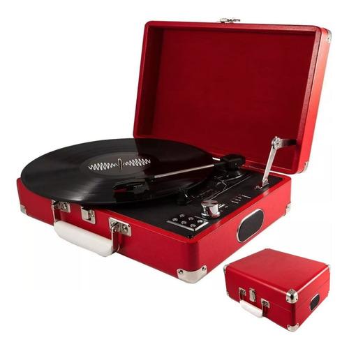 tocadisco 3 velocidades maleta de cuero rojo parlantes r4701