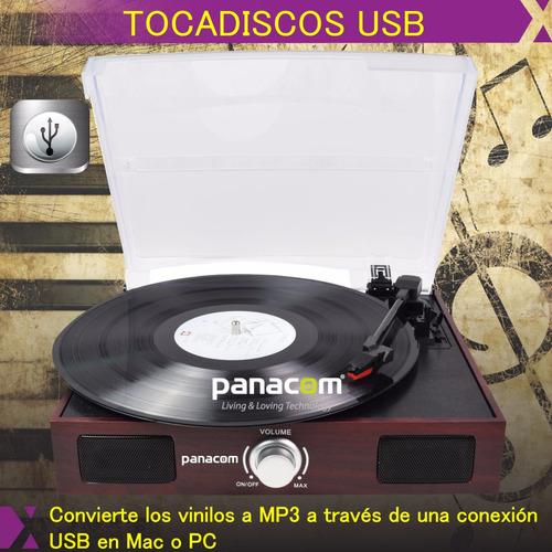 tocadisco bandeja giradiscos usb rca mp3 panacom - lp-8790
