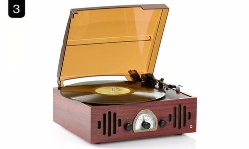 tocadisco bluetooth madera oscura con radio / el container