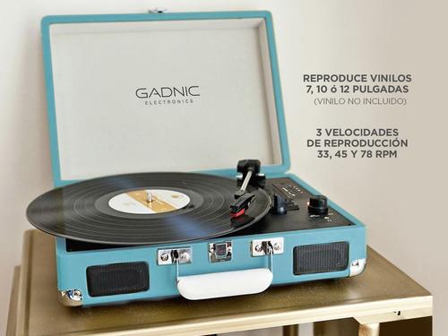 tocadisco gadnic vintage vinilo cd btooth sd rca aux gtía