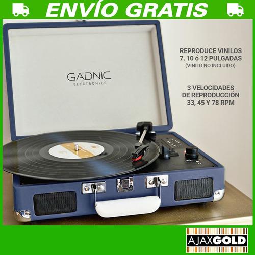 tocadisco vinilo vintage disco bluetooth rca aux + parlante