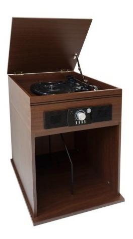 tocadisco vintage con base de madera quemetrajiste.cl