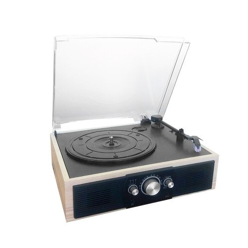 tocadiscos mt210 bluetooth + radio fm + 2 parlante r4694