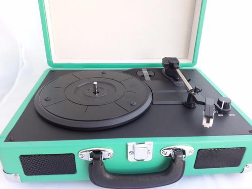 tocadiscos ookly okn-019 vintage usb rca bluetooth verde