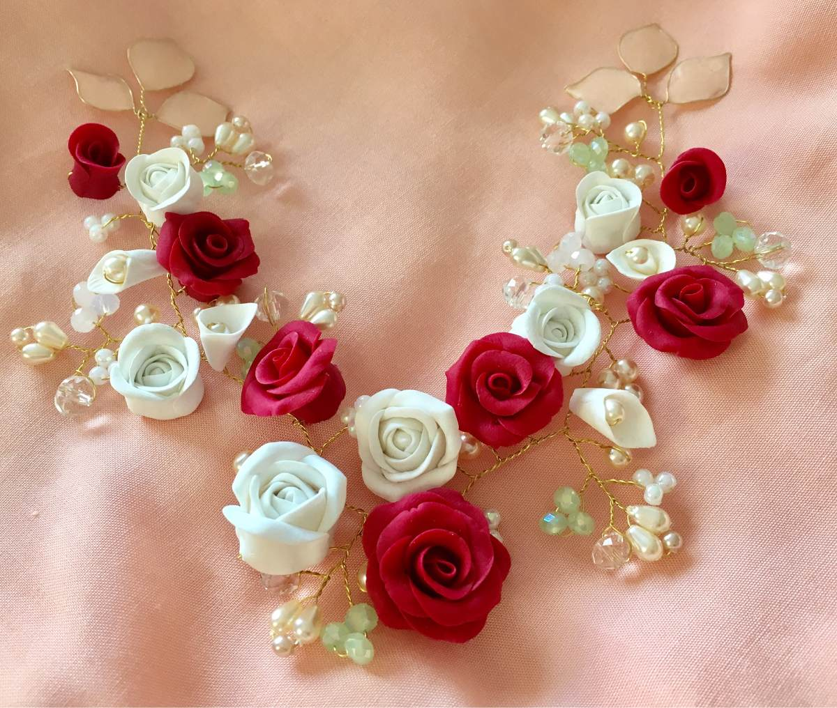 Tocado 12 Flores Rojas Y Blancas De 18cm 1 380 00 En Mercado Libre