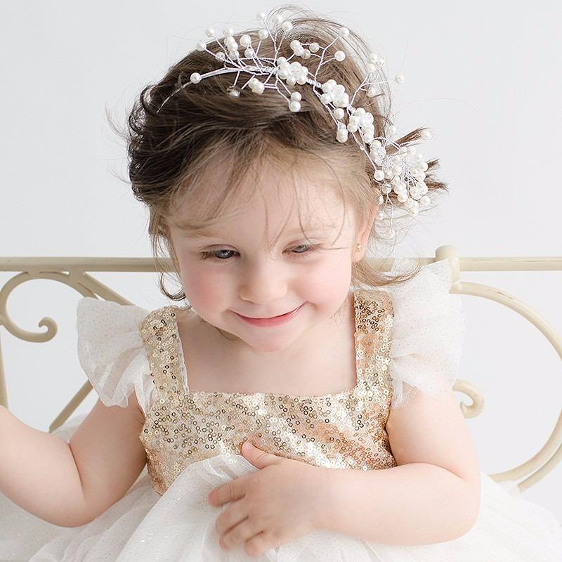 Tocado diadema corona flores para ni as bautizos bodas bs en mercado libre - Diademas para bebes bautizo ...