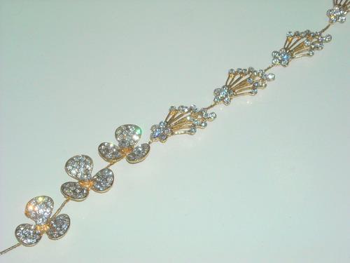 tocado flexible novias o 15 detalle de strass en dorado