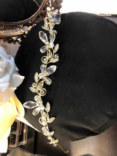 tocado guía para novia o quinceañera dorada cristal