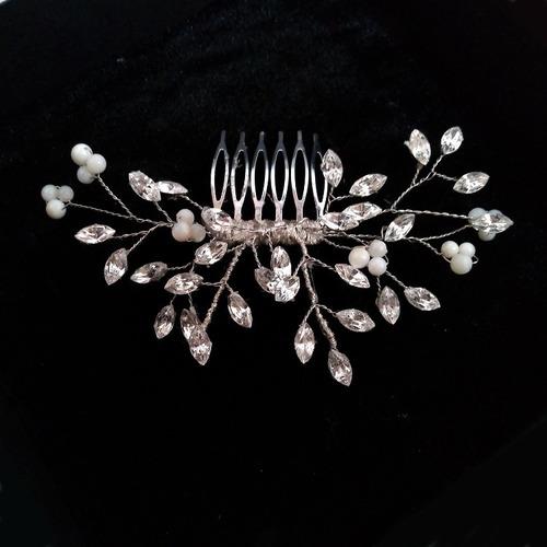 tocado peineta novia boda cristales hojas