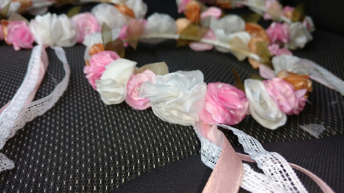 tocado/corona flores de tela hechas a mano - 15 años - novia