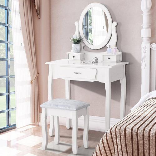 tocador comoda vintage victoriano 3 cajones espejo y banco