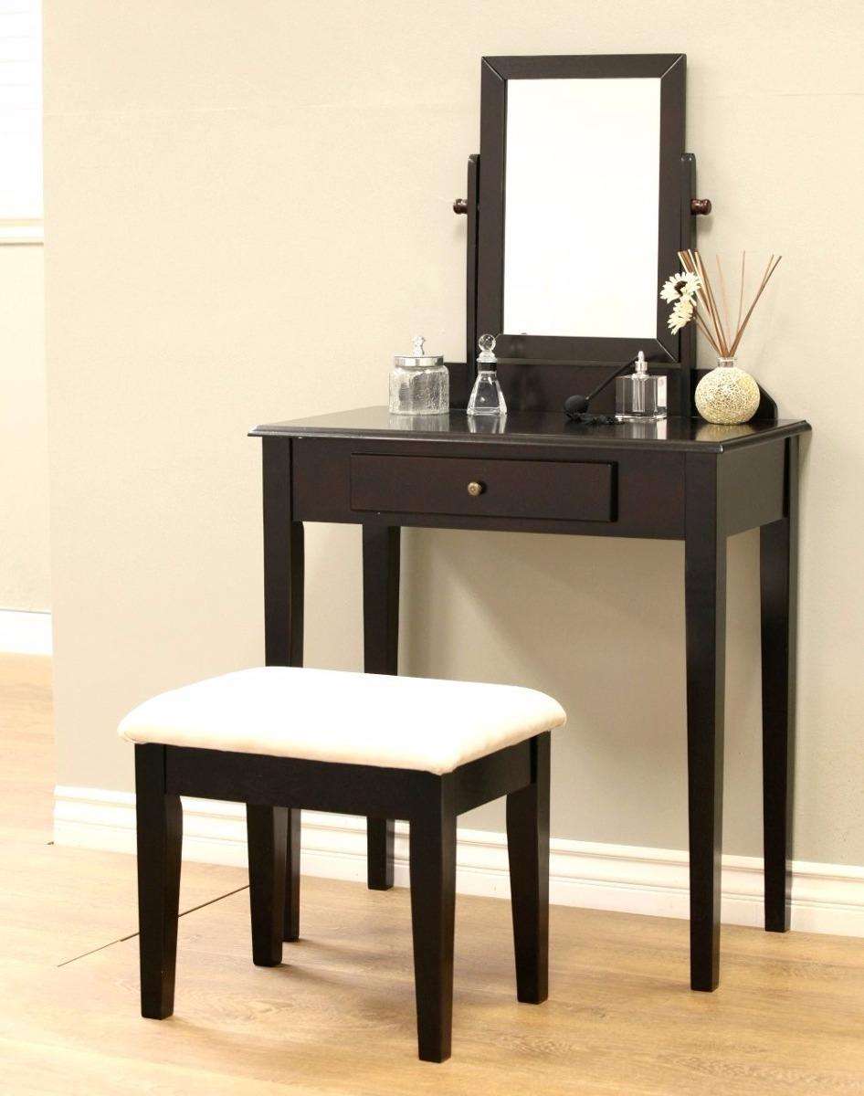 Tocador con espejo y banco de lujo color expresso - Tocador con espejo y luces ...