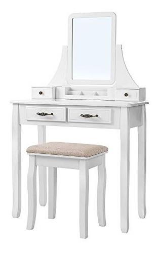 tocador con espejo y taburete color blanco songmics vanity