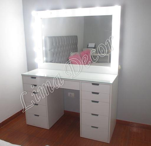 Tocador de melamina con espejo focos y vidrio nuevo s - Tocador con espejo y luces ...