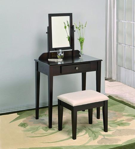 tocador mueble tocador para maquillaje con taburete, negro