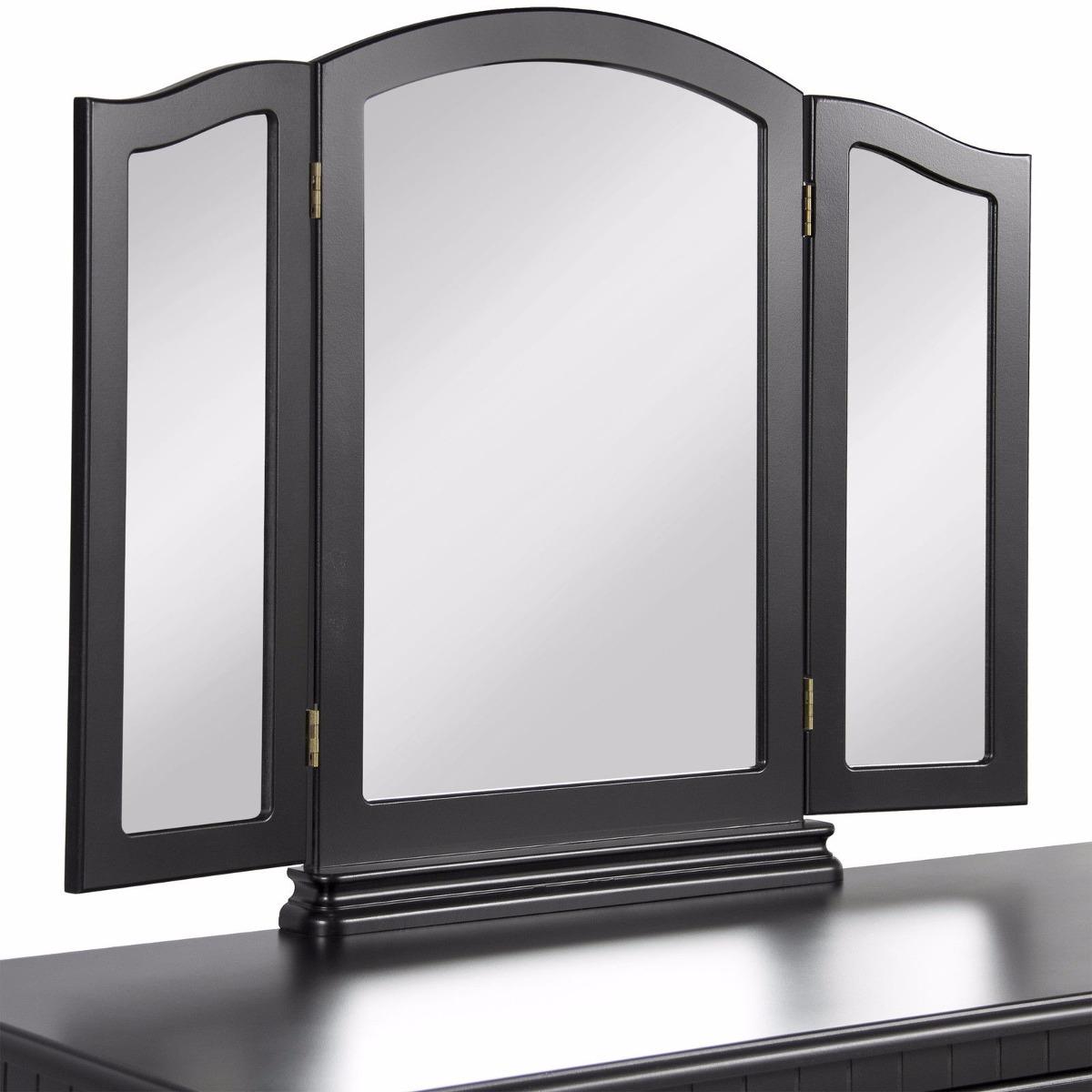 Tocador negro elegante joyero 3 espejos maquillaje for Espejos alargados
