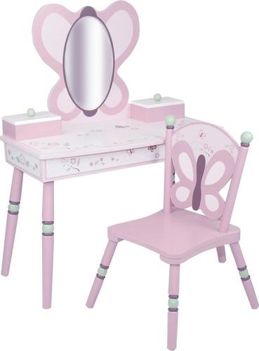 tocador para niña rosa deluxe con silla y espejo mariposa