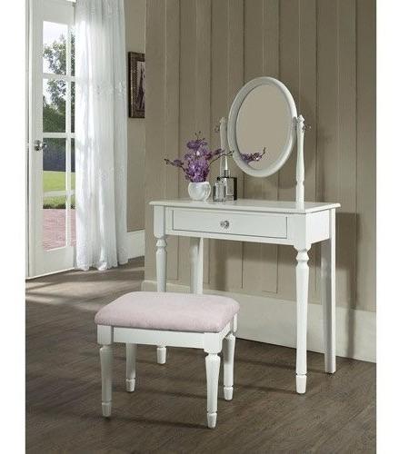 tocador para niñas con espejo y banco blanco