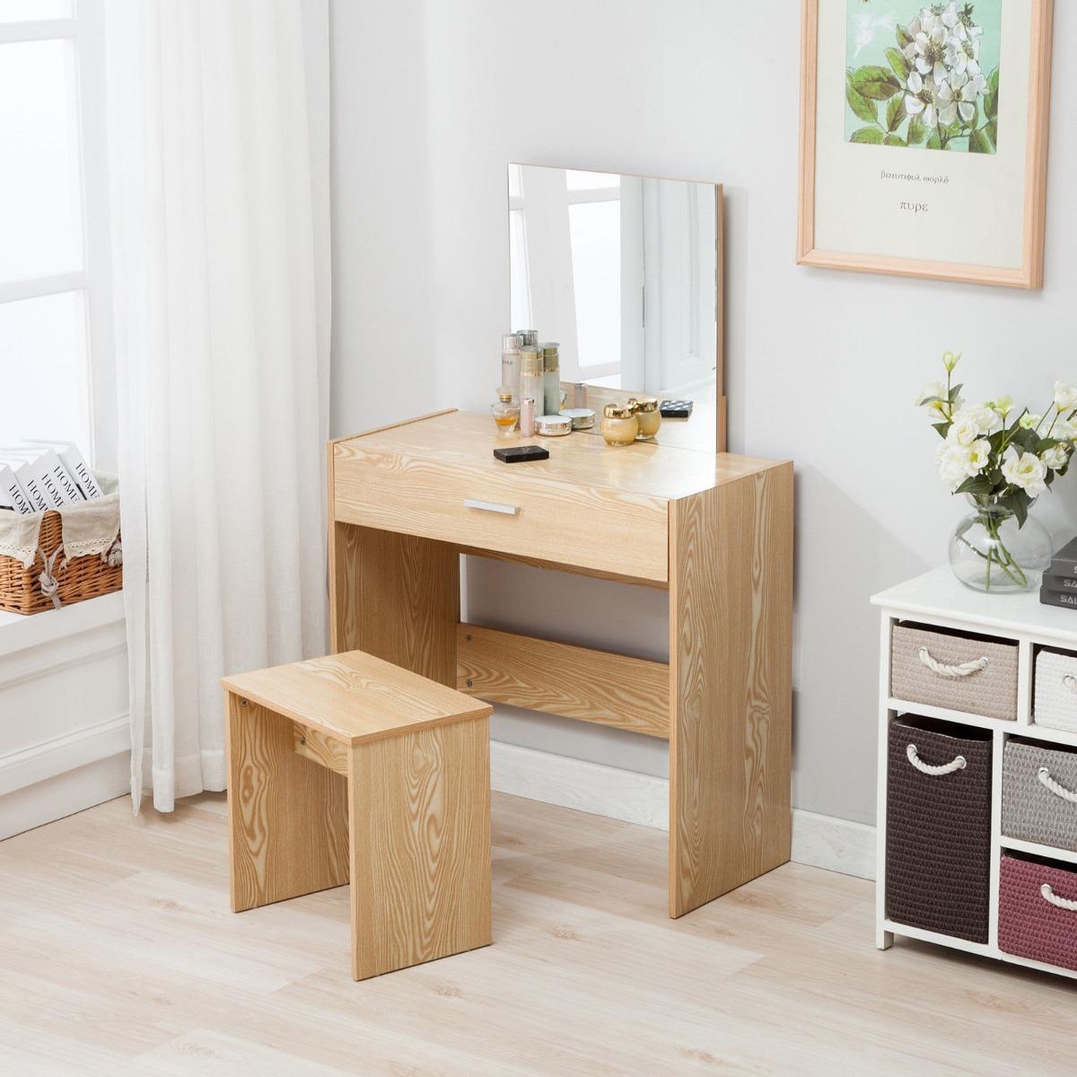 Tocador set de mesa y taburete y espejo color beige 2 en mercado libre - Espejo de mesa ...