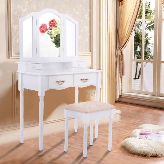 Tocador vanidad con triple espejo plegable blanco - Tocador con espejo y luces ...
