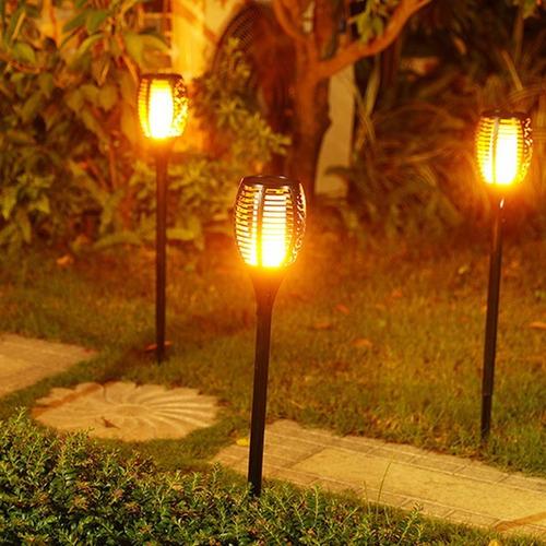 tocha solar lâmpada led fogo efeito chama arandela