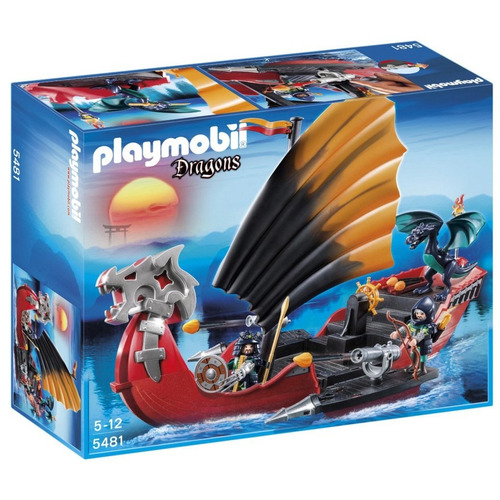 todobloques playmobil 5481 dragonbattle ship caja maltratada