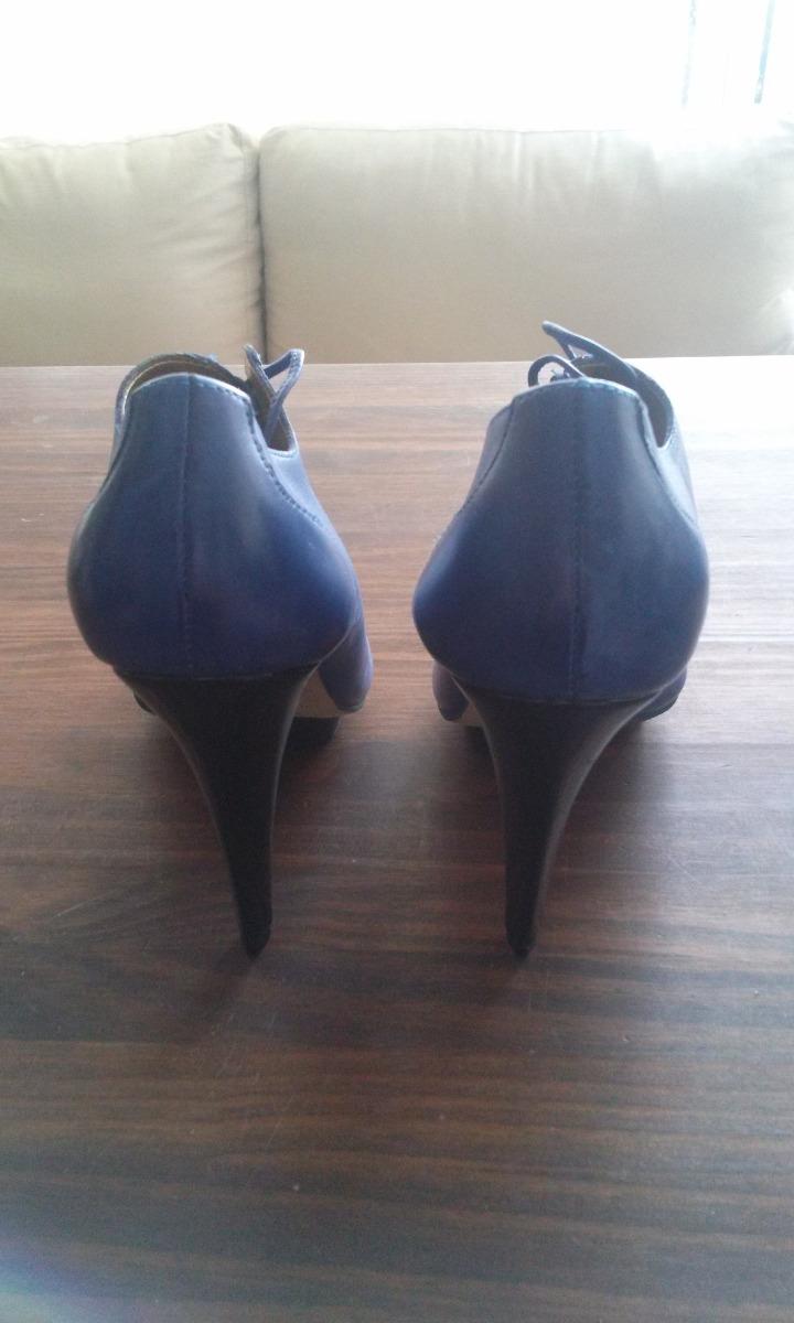 b3e852057 Sapato Peep Toe Dumond Azul De Couro C/ Cadarço N°39 - R$ 45,00 em ...